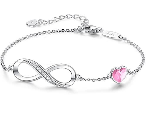 Beforya Paris – Pulsera rosa para mujer con corazón – Plata 925 – Bonita pulsera brillante con corazón de cristal – Pulsera para mujer elegante caja de regalo