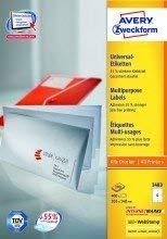 Avery Zweckform© 3483 Universal-Etiketten, 105 x 148 mm, Geeignet fr Deutsche Post INTERNETMARKE, 100 Blatt/400 Etiketten, weiá