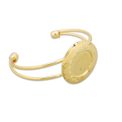 Goud vergulde armband bevindingen met 32mm blanco foto Locket-5st