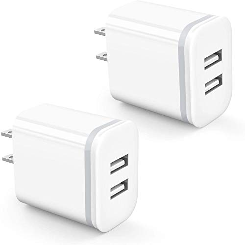 USB Wall Charger, DECIPA 2-Pack 2.1A/5V Dual Port USB Block Power Adapter Charger Plug Charging Cube Replacement for iPhone Xs Max XR X 8/7/6 6S Plus 5S, Samsung, LG, HTC, Moto, Android, Cell Phone