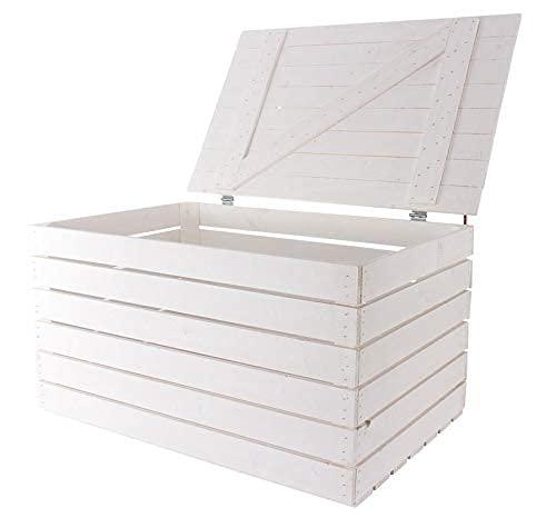 Neue Holztruhe weiß groß 85cm x 55cm x 46cm Schatztruhe XXL Weisse Holzbank Aufbewahrungskiste Gartenmöbel Obstkiste Weinkiste mit Deckel Holzbox Sitzbank Vintage-Look Kiste Stuhl