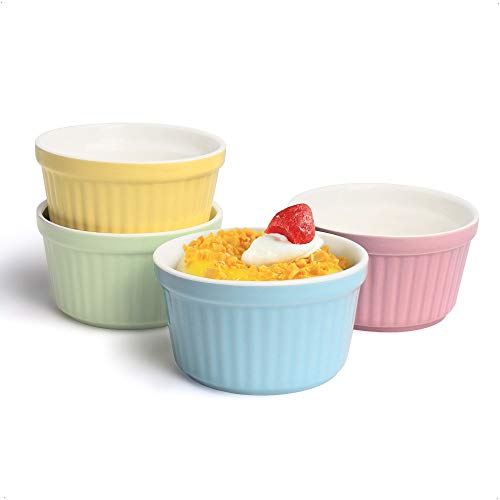 Auckpure Souffle Förmchen 4-teilig Set Auflaufform Klein Keramik, Creme Brulee Schälchen - 180ml, Förmchen für Muffins, Cupcakes, Dessertschale Bunte Serie