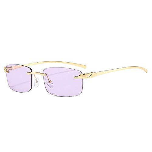 DLSM Gafas de Sol de rectángulo de rectángulo sin Montura Vintage para Montar a Caballo, Fiesta de Playa, Ciclismo-Púrpura Dorado