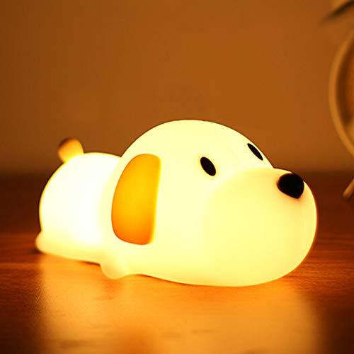 Luz Nocturna Infantil, otutun Lámpara Quitamiedos Portátil Luz de Noche Suave Silicona Cachorro con Control Táctil USB Recargable Lámpara Infantil LED para Infantiles Dormitorio Decoración Regalo