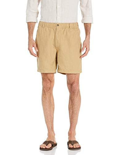 28 Palms Men's Relaxed-Fit 7' Inseam Linen Short with Drawstring, Tan, Large