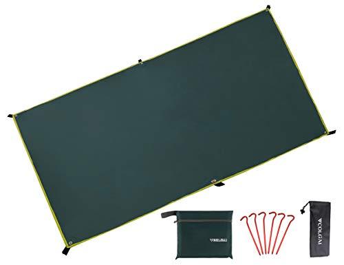 COLGAI グランドシート テントシート 両面防水 420Dオックスフォード生地 ペグ付 キャンプ 登山 150x220cm グリーン
