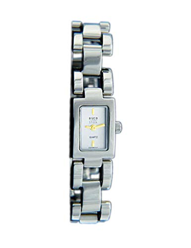 OSCO Steel Damen-Armbanduhr Analog Quarz mit Edelstahlarmband 2828 (Weiss/Gold/Gold)