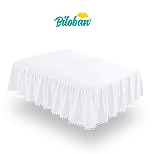 Buy White Crib Skirt Pleated with Lovely Pompoms, Bedding Dust Ruffle for Baby Girls and Baby Boys, ...