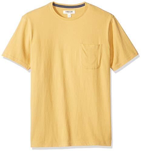 Marca Amazon - Goodthreads - Camiseta de manga corta y cuello redondo de punto de gamuza con bolsillo para hombre, Amarillo, US M (EU M)
