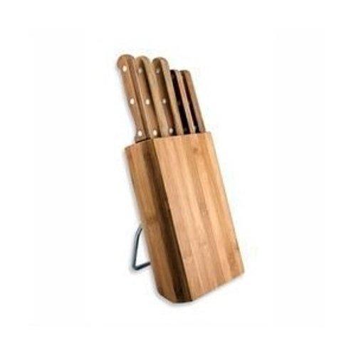 Tarrerias Bonjean 440560 Le Couteau du Chef - Ceppo Inclinato in Legno di bambù con 5 coltelli in Acciaio Inox temperato 13% con Manico in Legno