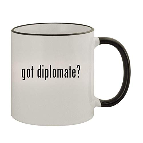 got diplomate? - 11oz Ceramic Colored Rim & Handle Coffee Mug, Black
