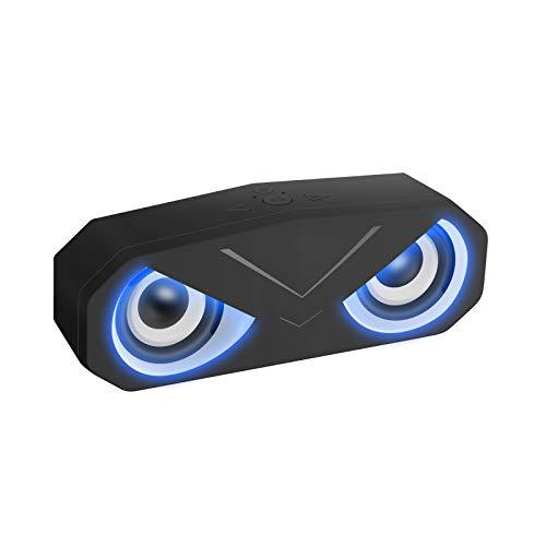 Altoparlante Bluetooth con Luci LED, Sonkir Casse Portatili Bluetooth 5.0 Senza Fili con Bassi Profondi Altoparlante Stereo Subwoofer AUX TF per Viaggi in Campeggio in Spiaggia (Nero)
