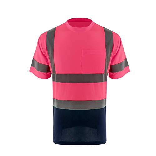 ZUJA Safety High Visibility Standard Short Sleeve Breathable Mens Construction T-Shirts Bright Reflective Protective Workwear(Pink,4XL)