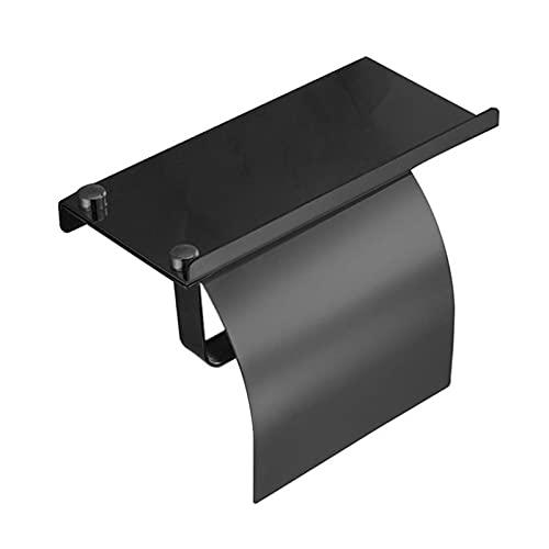 GuanRo Soporte de Papel higiénico Rollo de baño Soporte de Rack de tize de Montaje en Pared de Acero Inoxidable con Estante de teléfono Papel de Papel para baño (Color : Negro)