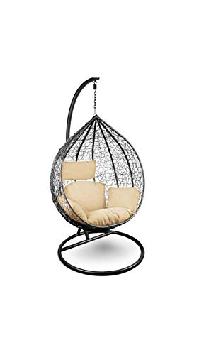 Rattan Swing Chair Hanging Garden Patio Indoor Outdoor Egg Chair with Stand Cushion and Cover,White,150kg Capacity (Black)