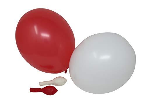 50 Luftballons je 25 rot & weiß Qualitätsballons 27 cm Ø (Standardgröße B85)