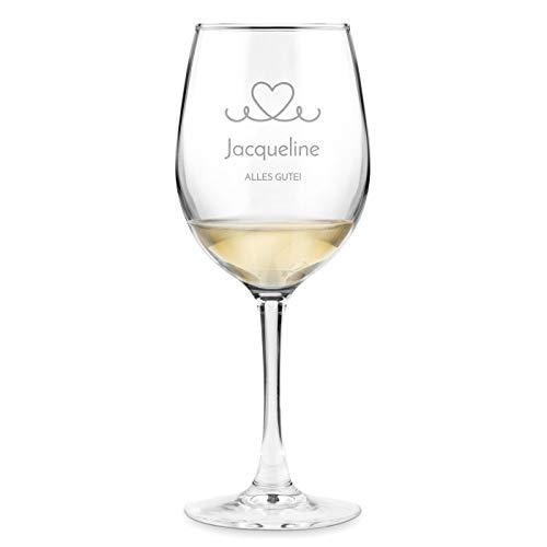 Murrano Weinglas mit Gravur 350 ml - personalisiert - Wein Glas für Rotwein Weißwein - Geschenk Geburtstag für Frauen Freundin - Alles Gute!