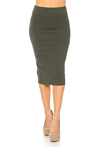 Auliné Collection Womens Solid Fitted High Waist Stretch Midi Ponte Pencil Skirt Olive L