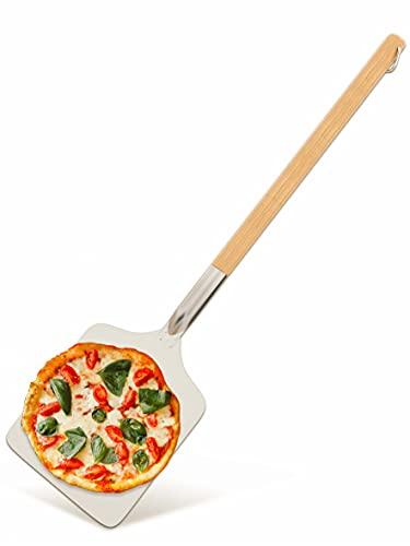 Pala de Aluminio para Pizza - Rectangular 30x30cm - Gran Superficie - Mango de Madera - 83cm - Con Gancho para Colgar
