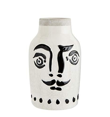 Madam Stoltz vaas met gezicht in wit met zwarte beschildering, 16x28 cm