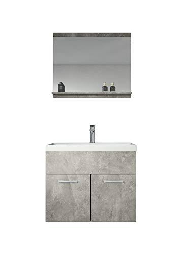 Badezimmer Badmöbel Montreal 02 Beton 60cm Waschbecken - Unterschrank Waschtisch Spiegel Möbel