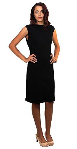 Ralph Lauren Blue Label Damen Etuikleid, ärmellos, niedriger Rücken, Schwarz (Größe 36)