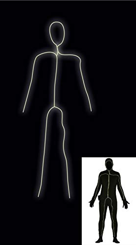 FIESTAS GUIRCA Disfraz Hombre Maillot Negra con luz led en Spandex Talla m-l