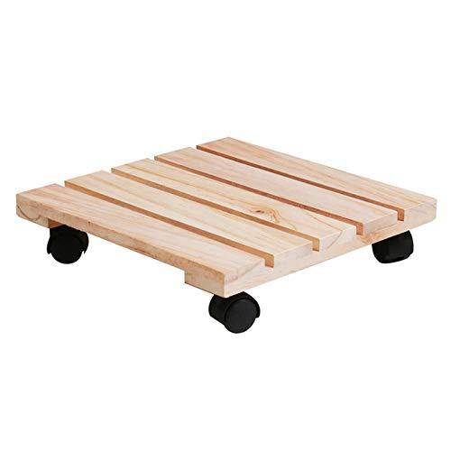 Soporte para plantas con ruedas de madera, estable con ruedas de 360°, para exteriores, soporte para macetas, ruedas de madera, soporte para macetas vintage, capacidad de carga de hasta 200 libras