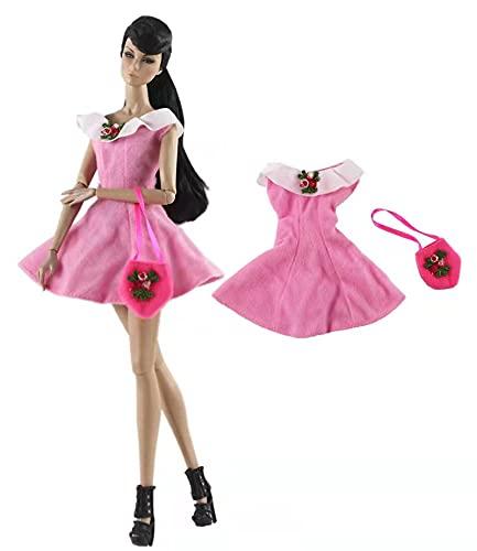 XKMY Vestidos para muñeca rosa accesorios 1/6 ropa de muñeca conjunto para trajes Barbie Tops falda pantalones vestido 11.5 pulgadas casa de muñecas niños (color: rosa bolsa de vestir 01)