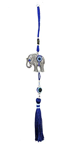 Bravo Team Lucky Evil Eye and Elephant Hanging Ornament for Protection and Blessing, Strength and Power, Pendant Decoration for Car, Home and Office, Great Gift
