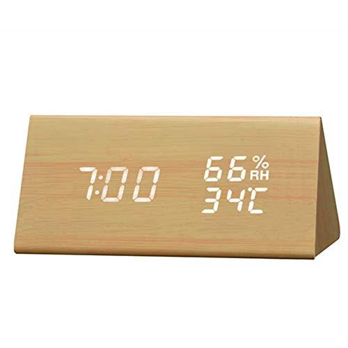 #N/V Humedad Y Temperatura Reloj Alarma Triángulo Digital Bebé Sala De Madera Reloj Silencio Luminoso Led Electrónico Regalo