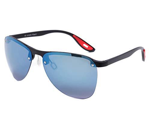 Alsino Lunettes de soleil sportives sans monture - Lunettes légères avec protection UV 400 - Collection Viper Eyewear - Différents modèles - Unisexe - Bleu et noir
