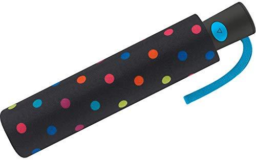 Paraguas Mini Mujer Automático United Colors of Benetton, Ocho Varillas, 95 cm de diámetro. (Negro con Topos Multicolores)