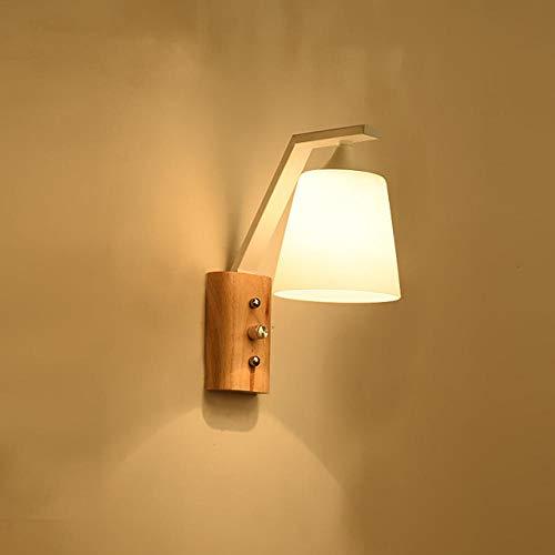 Aplique de madera con pantalla de cristal e interruptor on/off para salón/dormitorio regulable-220-240 V_Blanco