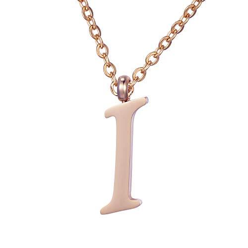 Morella Collana da Donna in Acciaio Inox Oro Rosa con Ciondolo Lettera I