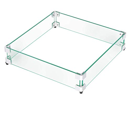 GASPRO Fire Pit Wind Guard Square for 30-32 inch Fire Table, 23.5 × 23.5 Inches Wind Guard Fire Pit Glass Shield for 18' Square Drop-in Fire Pit Pan, Clear Tempered Glass 5/16inch Thick