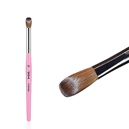 100% Pure Kolinsky Acrylic Nail Brush Size 10, Round Oval Crimped Professional Nail Art Brush Wood Handle Nail Art Painting Brush for Acrylic Powder Application Manicure Pedicure
