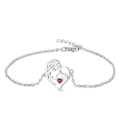 YL Pulsera Madre e Hija Plata de Ley 925 Pulsera de Corazón de Rubí claro Cortada para Mamá Mujer, Cadena 18-20CM
