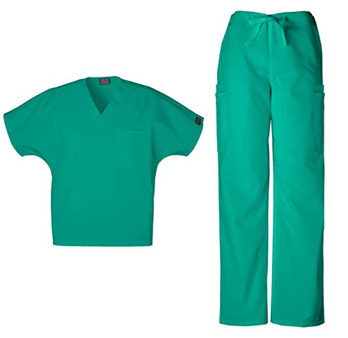 CHEROKEE Workwear Men's Dental - Medical Uniform Scrub Set - 4777 V-Neck Scrub Top & 4000 Drawstring Cargo Pants (Surgical Green - Small - Medium)