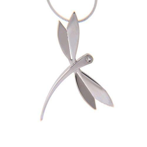 Buena Suerte joyería de la libélula Collar de Acero Inoxidable de 46 cm Borrar circonio cúbico Colgante