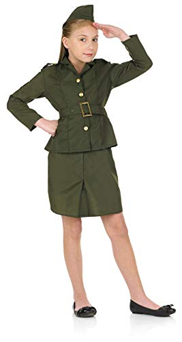 fun shack Kids WW2 Army Girl Costume Childrens 1940s Wartime Military Uniform - Small