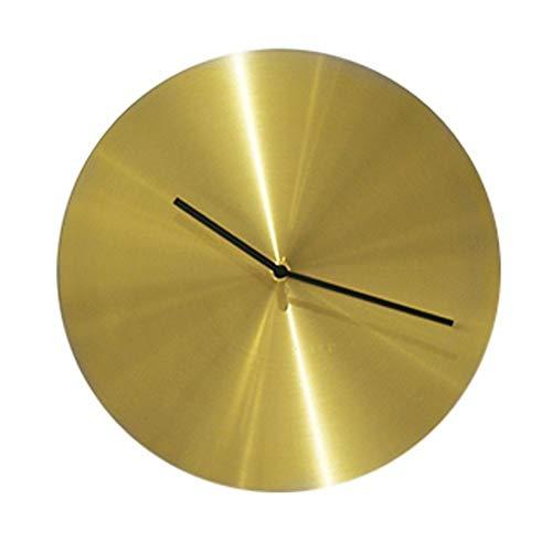 HY Moderna De Latón Redonda De Metal De Color Mudo Reloj De Pared Sencilla Habitación Salón Comedor Bar De Oro Reloj Decorativo 30 * 30cm