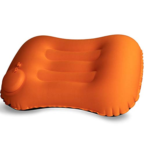Inflatable Pillow for Camping- Portable Hand Press Pillow TPU Travel Pillow, Compressible Ergonomic Neck & Lumbar Support Perfect for Beach, Backpacking, Road Trips and Airplanes(Orange)
