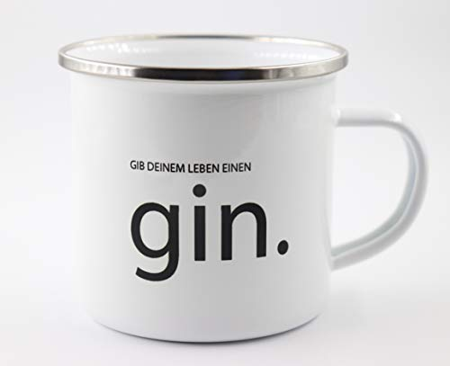 PICSonPAPER Emaille Tasse mit Schriftzug Gib Deinem Leben einen Gin, Geschenk, Edelstahl-Becher, Metall-Tasse, Campingbecher, Kaffeetasse