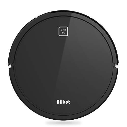 AIIBOT Robot Aspirador para Suelo Duro/Alfombra/Pelo de Mascotas,Navegación Inteligente,Succión Potente,Sensor Anti-caída,Silenciosa,Carga Automática, (V9S-Black)