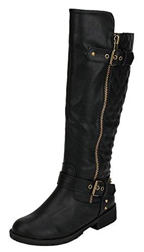 Nature Breeze Women's Vivienne-01 Leatherette Buckle Round Toe Motorcycle Boots 10 Black