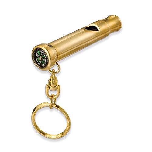 Diamond2deal Porte-clés en Laiton avec sifflet et Boussole Poids : 0,2 g