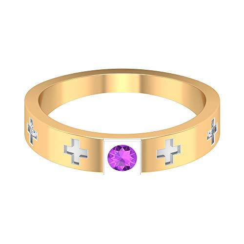 Anillo de compromiso de diamante HI-SI de 3 mm creado en laboratorio, anillo de compromiso, solitario, anillo de oro, anillo de promesa para ella, 18K Oro blanco, Size:EU 64