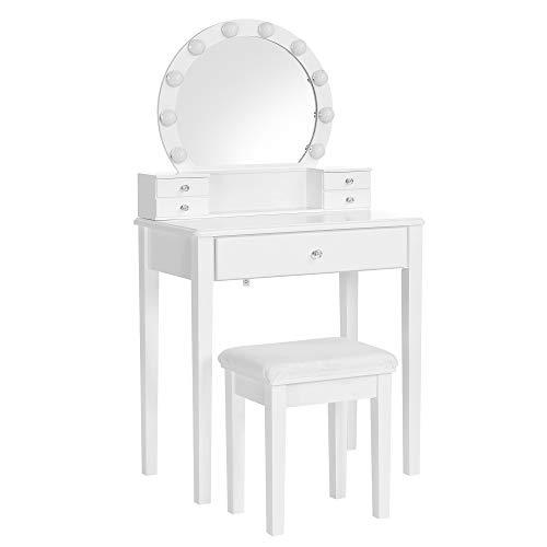 VASAGLE Schminktisch-Set, Frisiertisch, mit Spiegel, 10 dimmbare Glühbirnen, modern, gepolsterter Hocker, 5 Schubladen, 70 x 40 x 134 cm, Geschenkidee, weiß RDT151W01