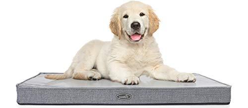 Pecute Cuscino Cane Grande in Memory Foam (89 * 56 * 7 CM Grigio), Materassino per Cani Sfoderabile Lavabile, Tappetino Cane Impermeabile e Antiscivolo, Letto per Animali Domestici Grigio